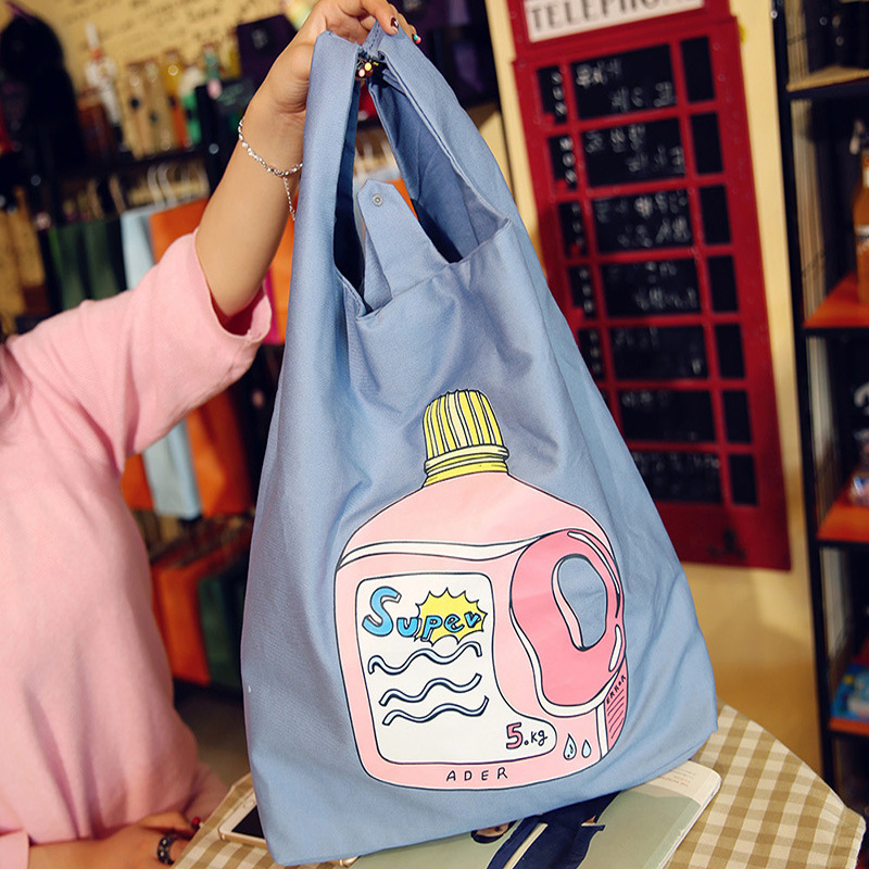 Light blue pattern foldable recycle bag