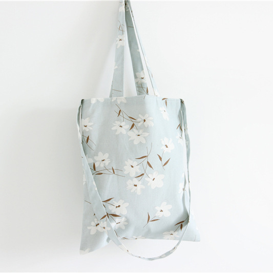 Light blue Flower tote bag
